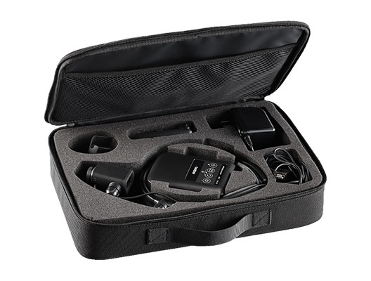 Carrying case with AiRScouter WD-320C and accessories in protective foam