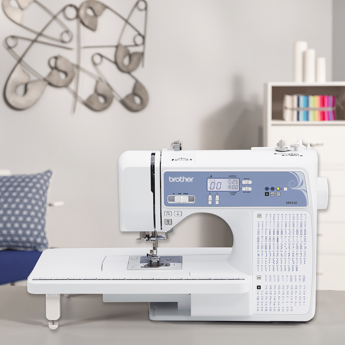 LCD Display 8 Included Presser Feet 165 Built-in Stitches White Wide Table Brother XR9550 Sewing and Quilting Machine Computerized