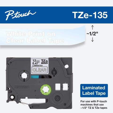 Office 5PK TZ135 TZe135 TZ TZe 135 White on Clear Label Tape For ...