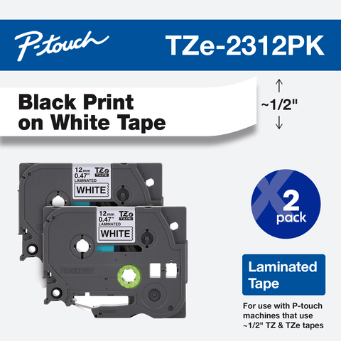 TZ TZe231 Black on White Compatible For Brother P Label 1pc 12mm Tape S1V3 E2T1