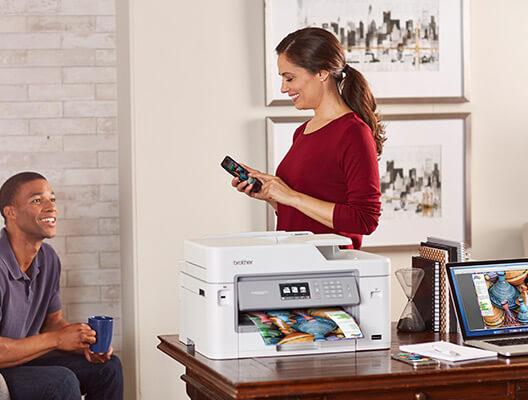 Woman Printing Photo Using AirPrint