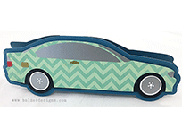 Greeting card cut to look like a light green sedan