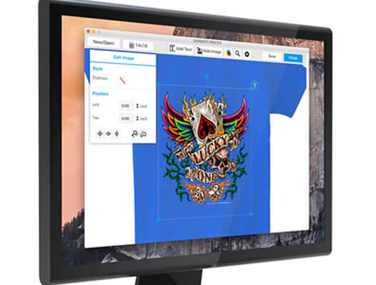 Direct to garment printing software open on computer monitor