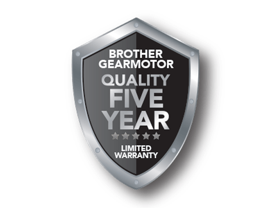 Gearmotor 5 year warranty
