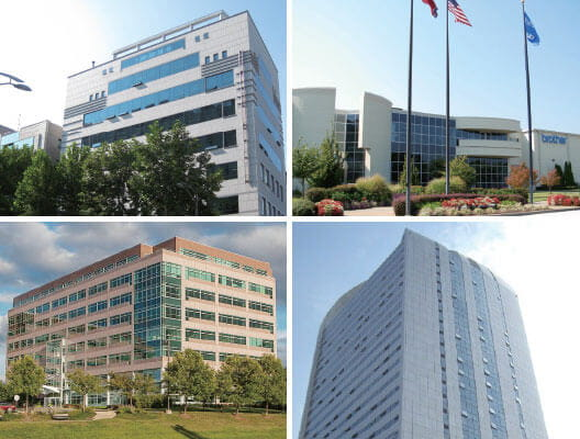 Four panel image of the exterior of office buildings