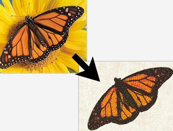 Embroidered monarch