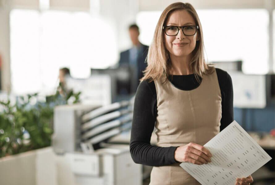 Portrait of woman in an office