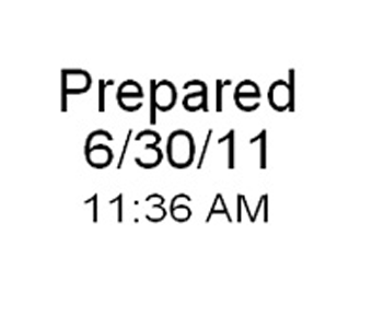 Prepared date time stamp label