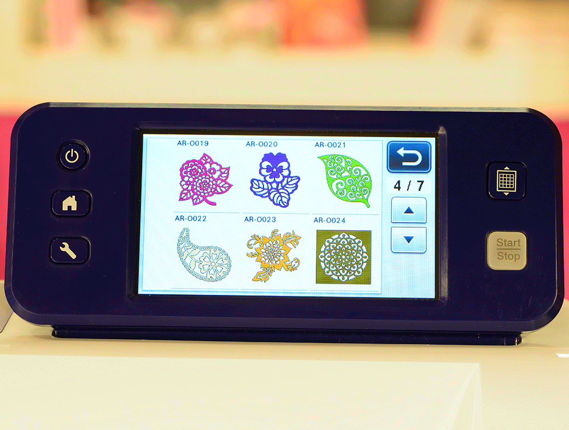 Close-up of CM350's LCD touchscreen display