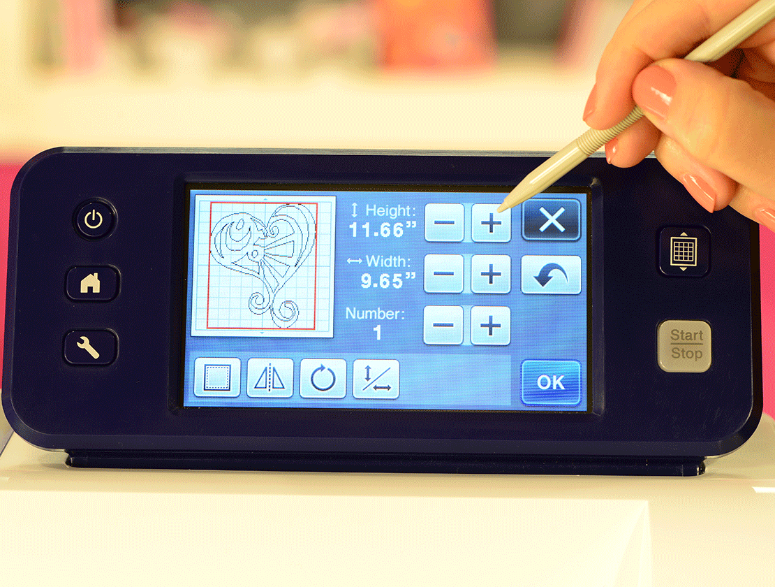 Close-up of On-screen editing with Brother CM350