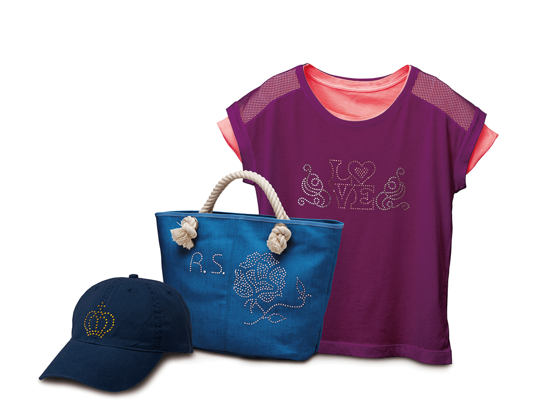 Hat, handbag, and shirt shown with printable stickers applied
