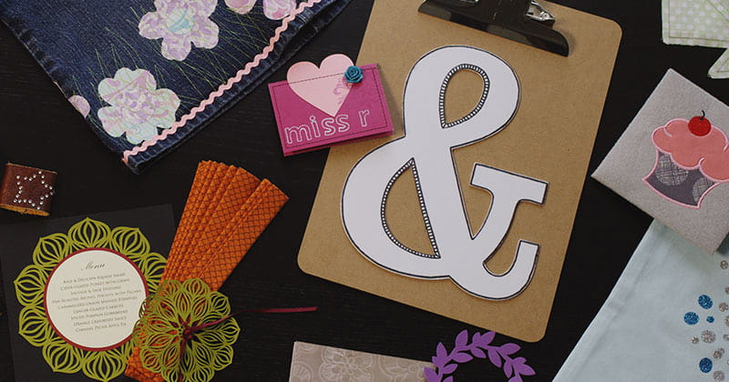 Examples of projects made with DesignNCut, created with paper, vinyl, fabric, felt, leather and moreDe