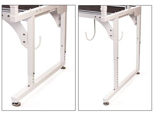 Image of adjustable legs on THE Dream Fabric Frame that allow quilting at table height, standing height or anywhere between
