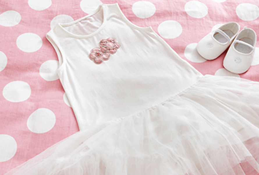 Ballet dress with embroidered flowers
