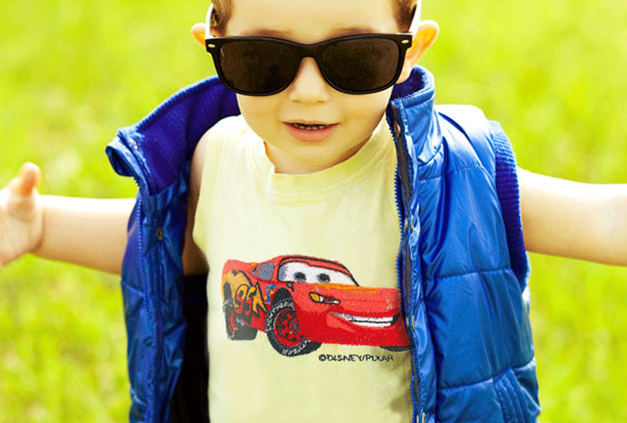 Pixar McQueen from Cars embroidery on T-shirt