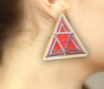 Triangular embroidered earrings
