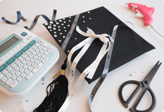 Personalized graduation cap and P-touch Embellish