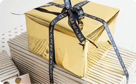 Presents personalized with ribbon