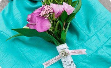 Wedding bouquet ribbon
