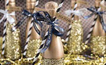 Wedding champagne bottle ribbons