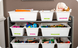 Kids room toy drawers labeled