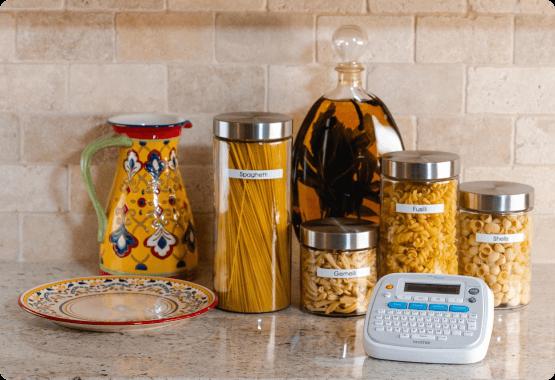 Organized pasta jars