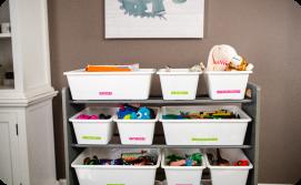 Organized storage bins with labels