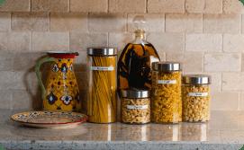 Labeled pasta jars