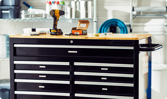 Work bench with labeled drawers