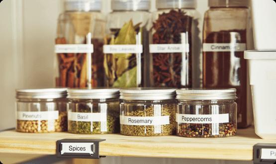 Labeled spice jars