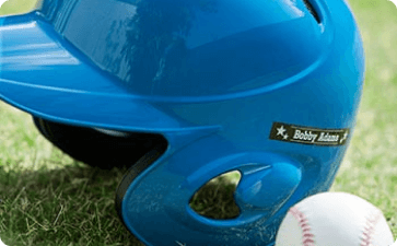 Personalized baseball helmet and baseball