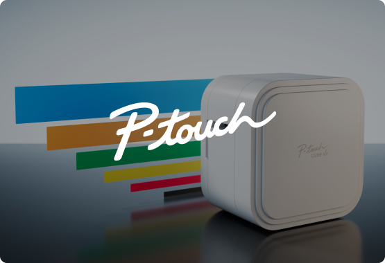P-touch Cube XP with P-touch logo overlay