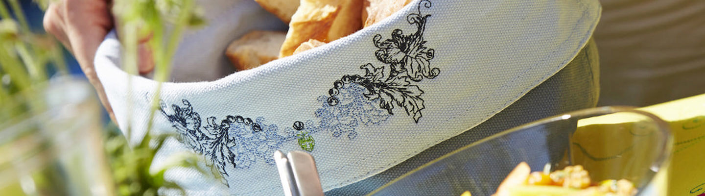 Embroidered breadbasket