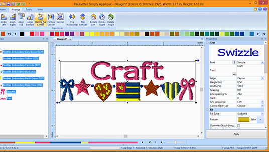 built-in lettering, accent designs and appliqué designs