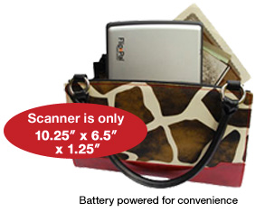 "Scanner is only 10.25"" x 6.5"" x 1.25"". Battery powered for convenience."