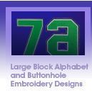 Large Block Alphabet and Buttonhole Embroidery Designs