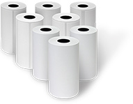 Thermal media on convenient drop-in rolls make changing or replacing supplies quick and easy