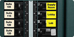 On-site datacom and electrical labels for wires and cables, patch panels and faceplates, and electrical panels