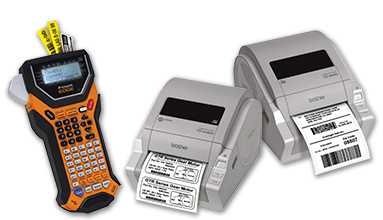 P-touch EDGE® PT-7500 handheld industrial labeling tool and TD-4000 & TD-4100N desktop paper barcode label printers