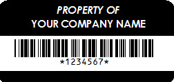 Property of Label with Company Name and Barcode