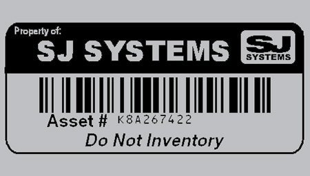 Property of Label with Logo, Asset Number, and Barcode