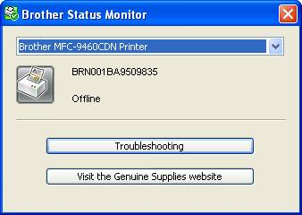 The Status Monitor for the Brother machine displays: Offline. What ...
