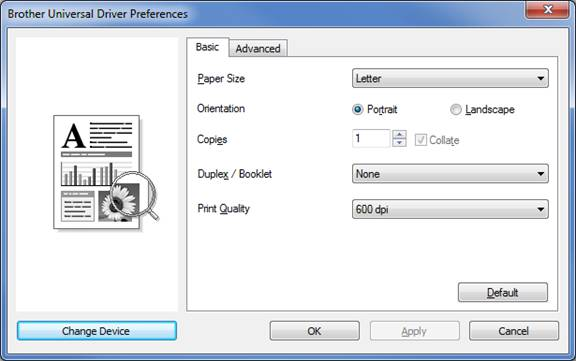 Download and install the Brother Universal Printer Driver for PCL