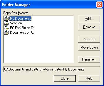 How do I change the folder to save scanned documents in