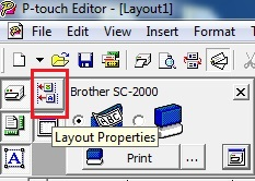 The Layout Properties box is grayed out in P-Touch Editor