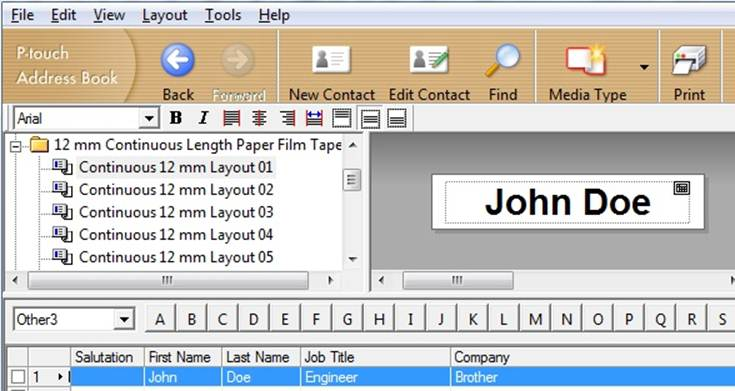 my label printer is printing a blank label in ptouch address book