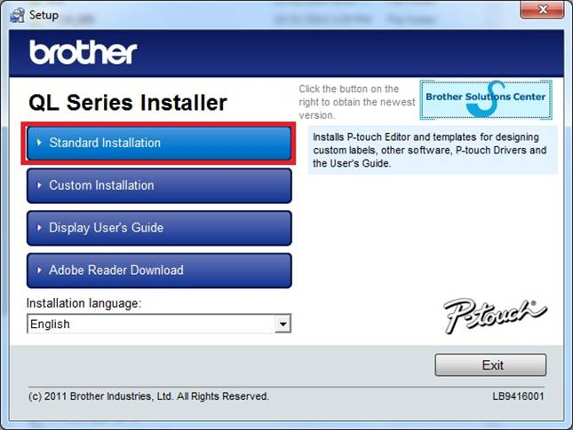 Install the P-touch software and printer driver from the CD