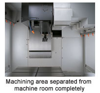 Machining area separated from machine room completely