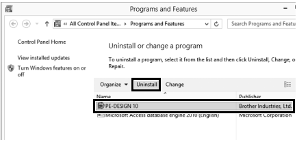 How to uninstall Brother Software from my Windows 8 computer