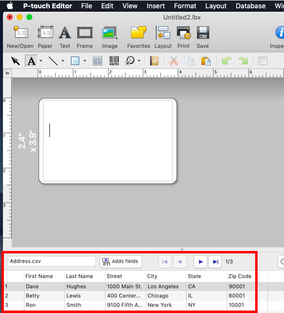 Import a database - P-touch Editor 5 x - Macintosh